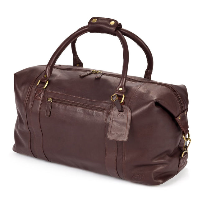 Tan - Front - Eastern Counties Leather Large Holdall Bag