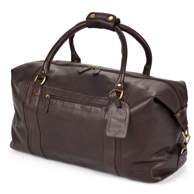 Brown - Front - Eastern Counties Leather Large Holdall Bag