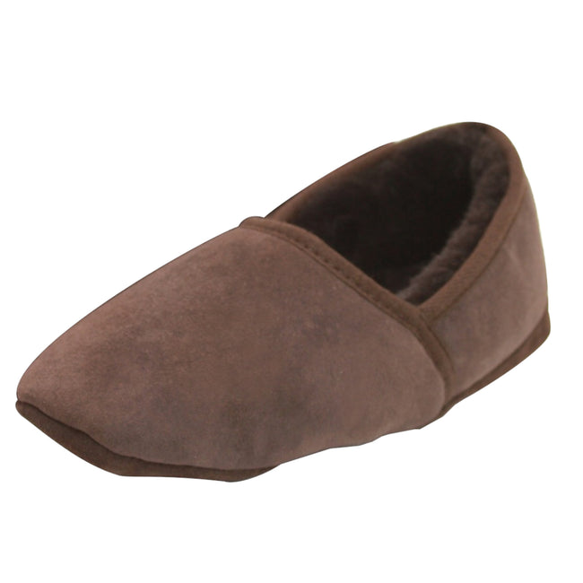 Chocolate - Front - Eastern Counties Leather Mens Full Sheepskin Turn Slippers