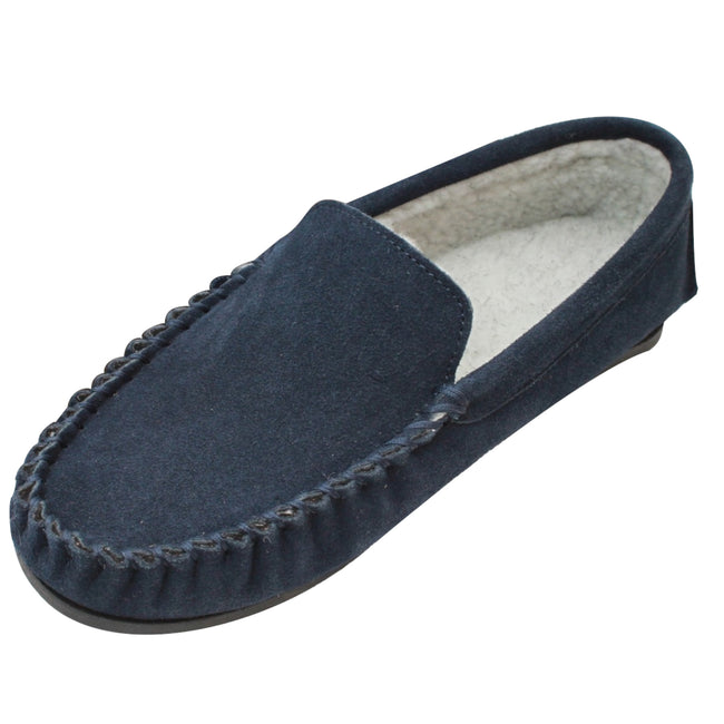 Navy - Front - Eastern Counties Leather Mens Berber Fleece Lined Suede Moccasins