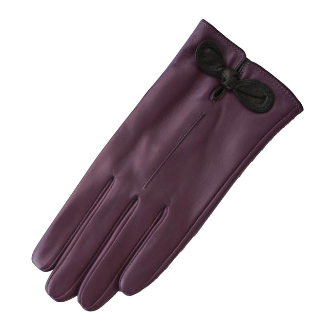 Purple-Black - Front - Eastern Counties Leather Womens-Ladies Contrast Bow Leather Gloves