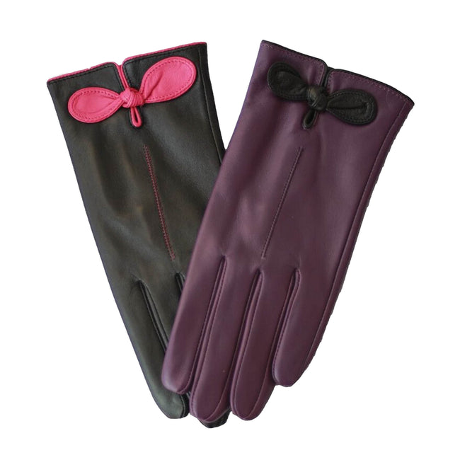 Purple-Black - Back - Eastern Counties Leather Womens-Ladies Contrast Bow Leather Gloves