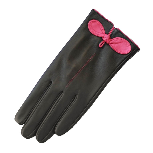 Black-Fuchsia - Front - Eastern Counties Leather Womens-Ladies Contrast Bow Leather Gloves