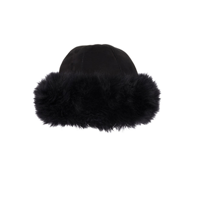 Black - Front - Eastern Counties Leather Womens-Ladies Moritz Sheepskin Panel Hat