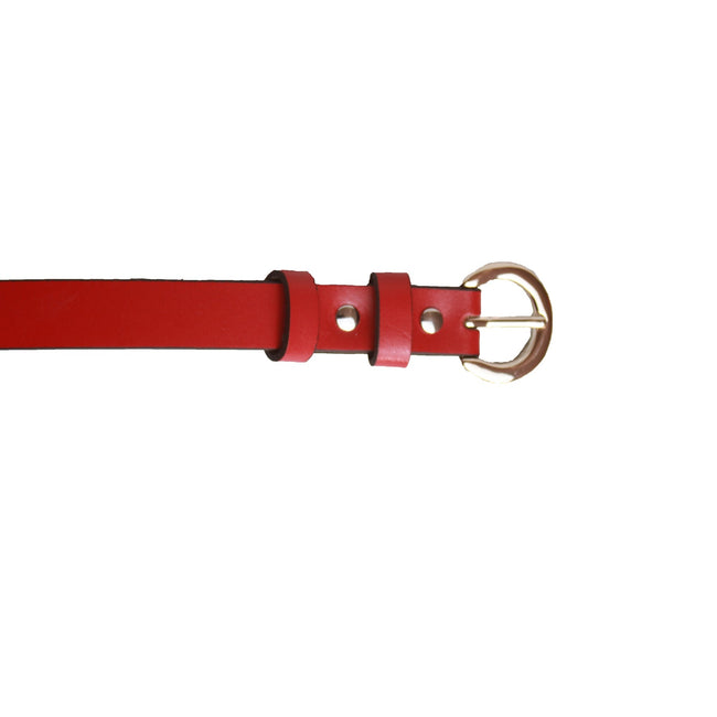 Red - Front - Eastern Counties Leather Womens-Ladies Thin Fashion Belt