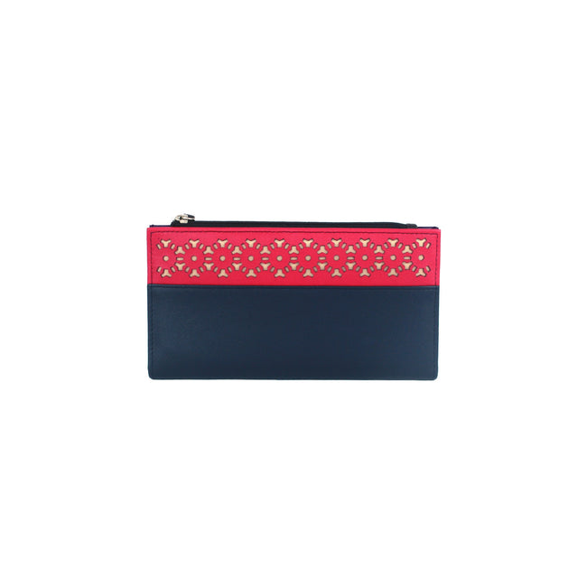 Navy-Pink - Front - Eastern Counties Leather Womens-Ladies Karlie Contrast Panel Purse