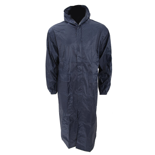 Navy - Front - Mens Long Length Waterproof Hooded Coat-Jacket