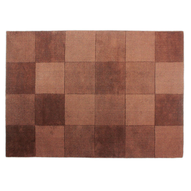 Chocolate - Front - Flair Rugs Wool Squares Design Floor Rug