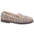 Grey - Back - GBS Everett Mens Check Slipper - Mens Slippers