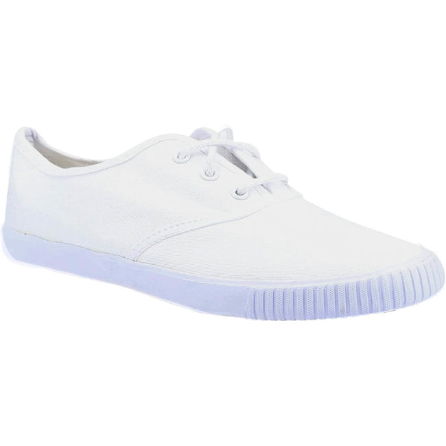 White - Front - Mirak 204-ASG14 Lace-Up Plimsolls - Mens Trainers - Lace Plimsolls