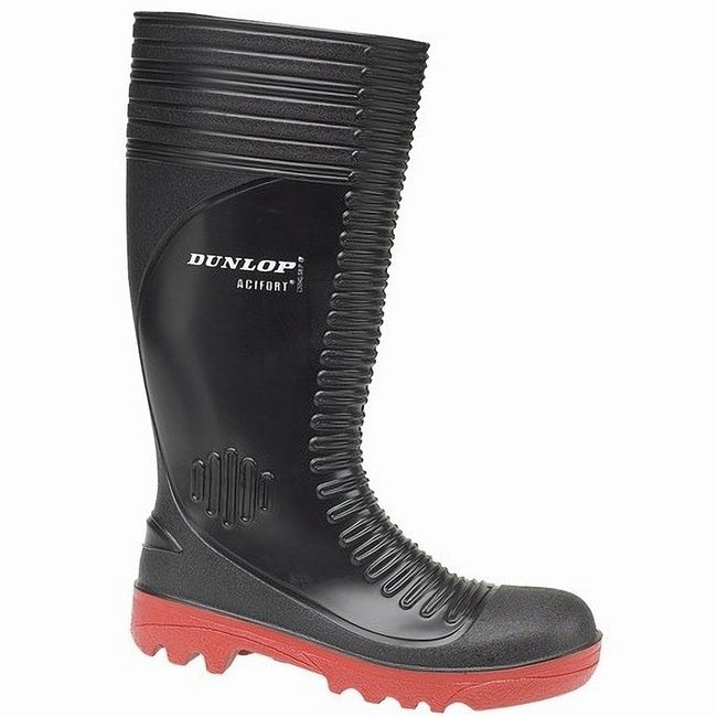 Black - Front - Dunlop Acifort A252931 Ribbed Full Safety Wellington - Mens Boots