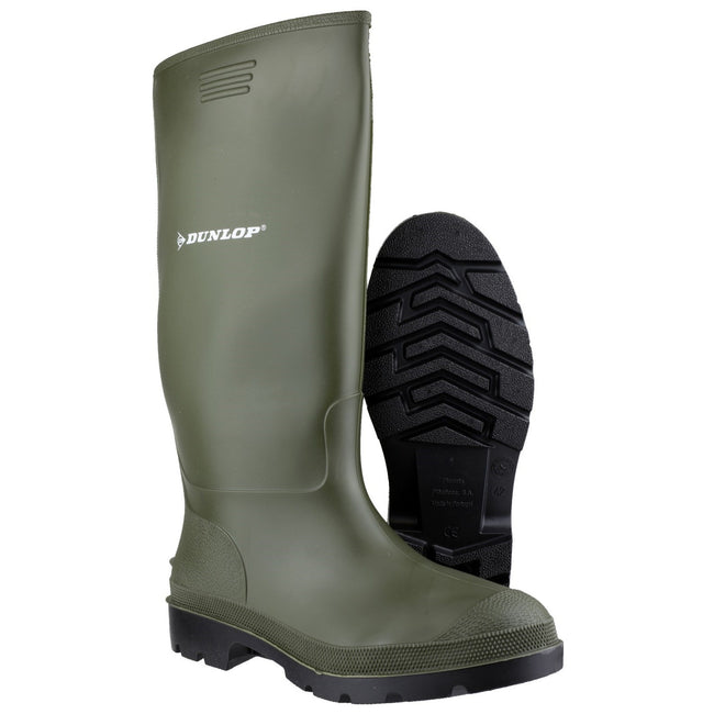 Green - Close up - Dunlop Pricemastor PVC Welly - Womens Boots