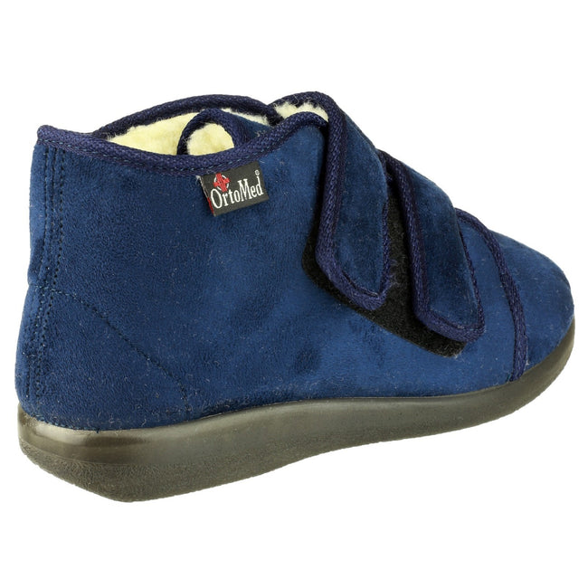 Navy - Back - GBS Med Torbay Unisex Extra Wide Fit Slipper