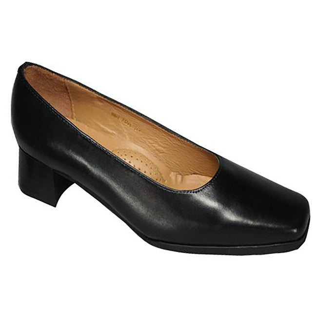 Black - Back - Amblers Walford Ladies Wide Fit Court - Womens Shoes