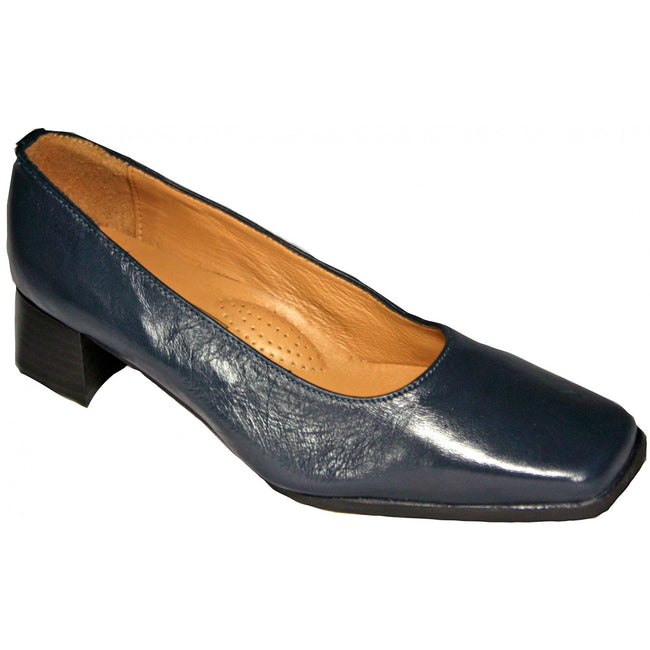 Navy - Side - Amblers Walford Ladies Wide Fit Court - Womens Shoes