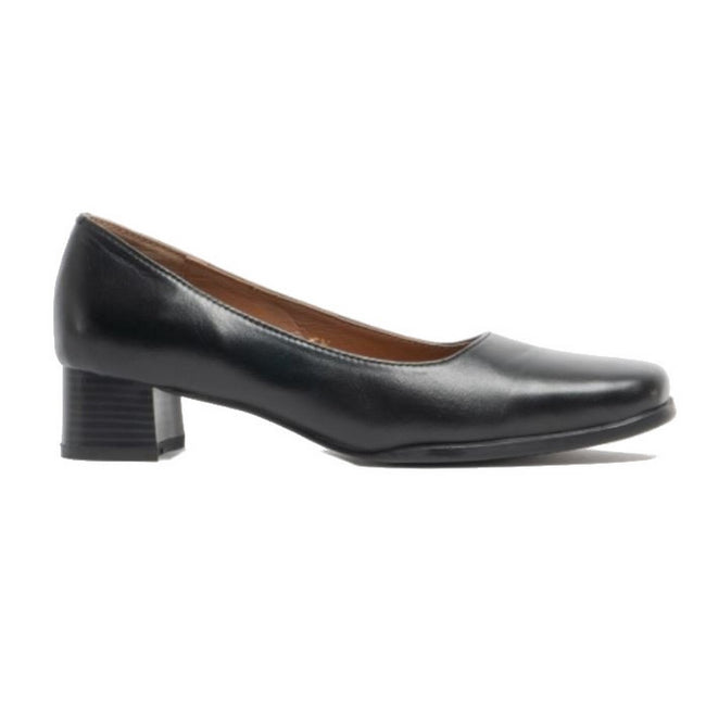 Black - Front - Amblers Walford Ladies Wide Fit Court - Womens Shoes
