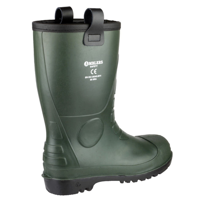 Green - Back - Footsure 97 PVC Rigger Safety Wellingtons - Mens Boots