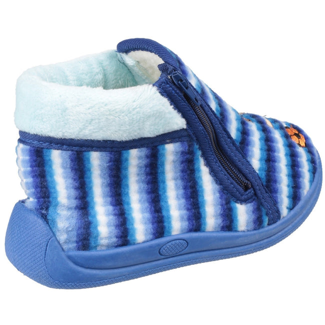 Blue - Back - Mirak Safari Childrens Unisex Slippers