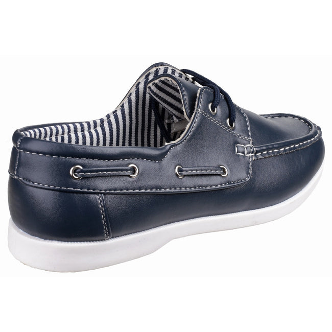 Navy - Lifestyle - Fleet & Foster Mens Falmouth Lace Up Casual Boat Shoe