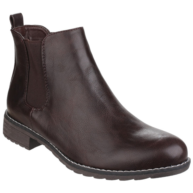 Brown - Front - Divaz Womens-Ladies Kelly Pull On Dealer Boots