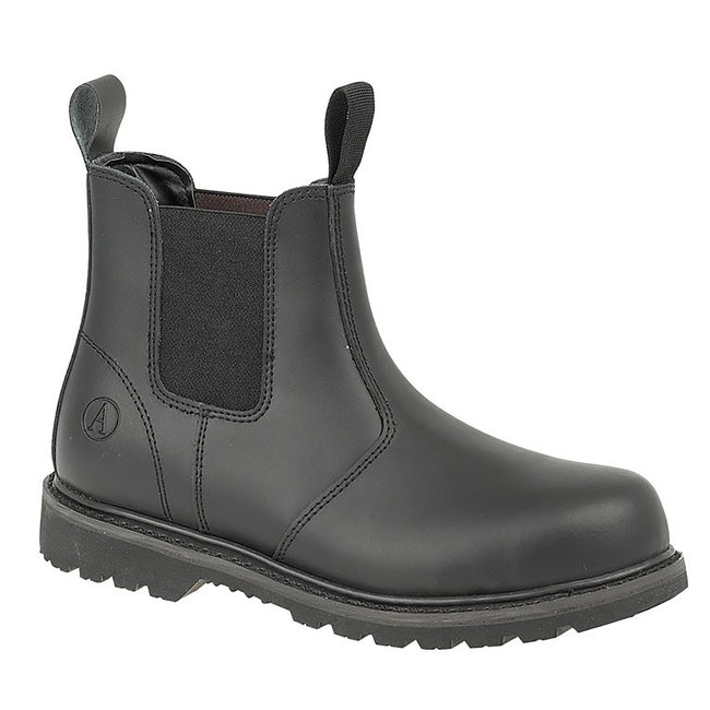Black - Front - Amblers Unisex Steel FS5 Pull-On Dealer Boot - Womens Mens Boots