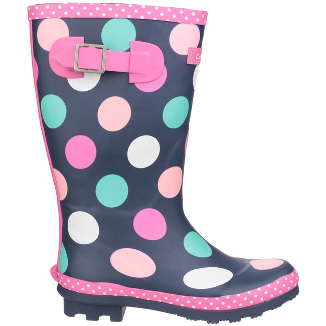 Multicoloured - Back - Cotswold Childrens Girls Dotty Spotted Wellington Boots