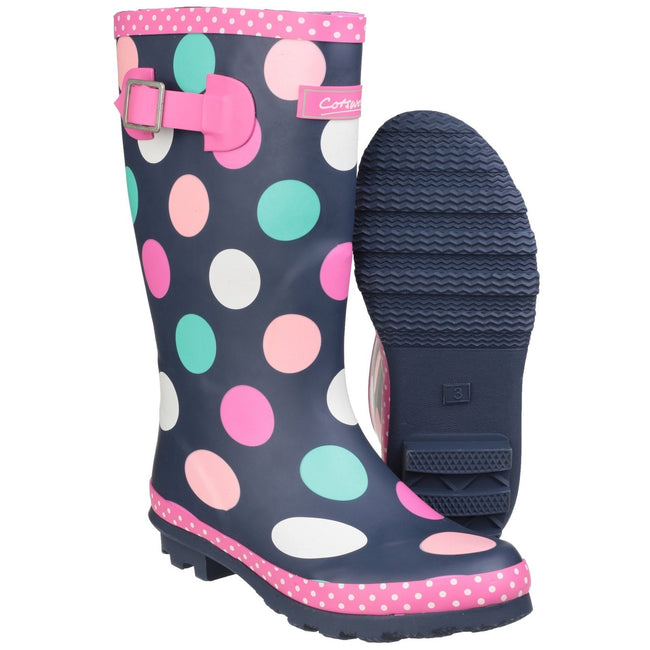 Multicoloured - Close up - Cotswold Childrens Girls Dotty Spotted Wellington Boots