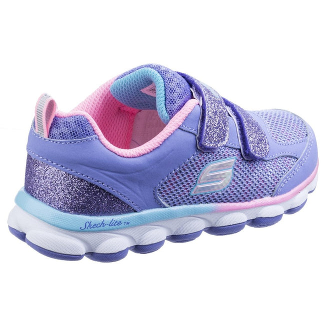 Lavender-Pink - Back - Skechers Childrens Girls SK82113N Lil Jumpers Touch Fasten Sports Trainers