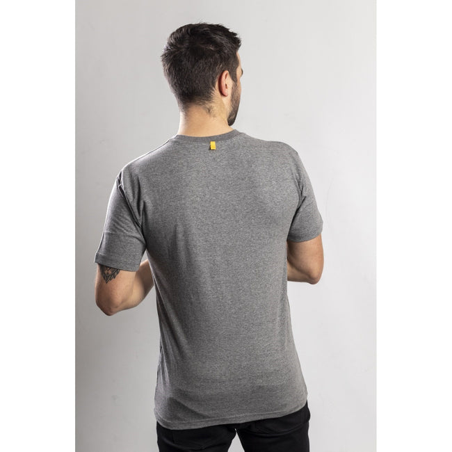 Dark Heather Grey - Close up - Caterpillar Mens TM Logo Short Sleeve T-Shirt