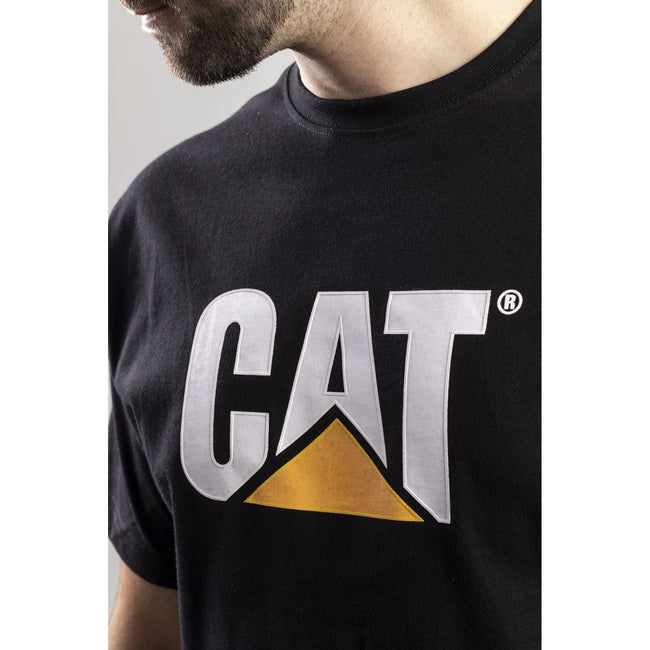 Black - Close up - Caterpillar Mens TM Logo Short Sleeve T-Shirt
