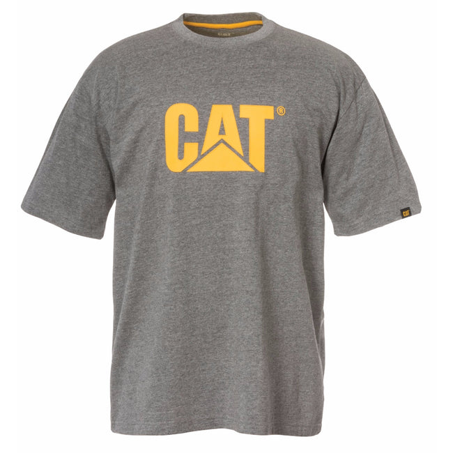 Dark Heather Grey - Front - Caterpillar Mens TM Logo Short Sleeve T-Shirt