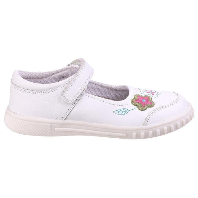 White - Back - Hush Puppies Childrens Girls Lottie Floral Touch Fasten Shoes