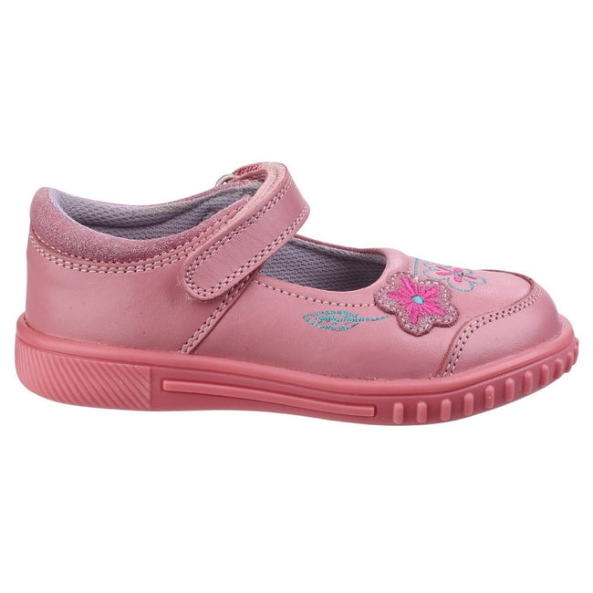 Pink - Back - Hush Puppies Childrens Girls Lottie Floral Touch Fasten Shoes