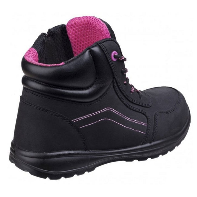Black - Back - Amblers Safety Womens-Ladies Composite Safety Boots With Side Zip