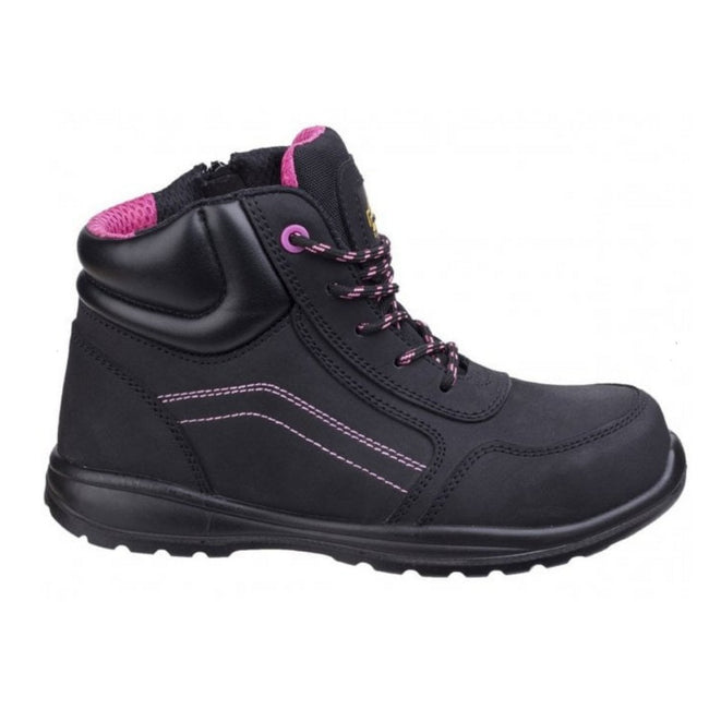 Black - Side - Amblers Safety Womens-Ladies Composite Safety Boots With Side Zip