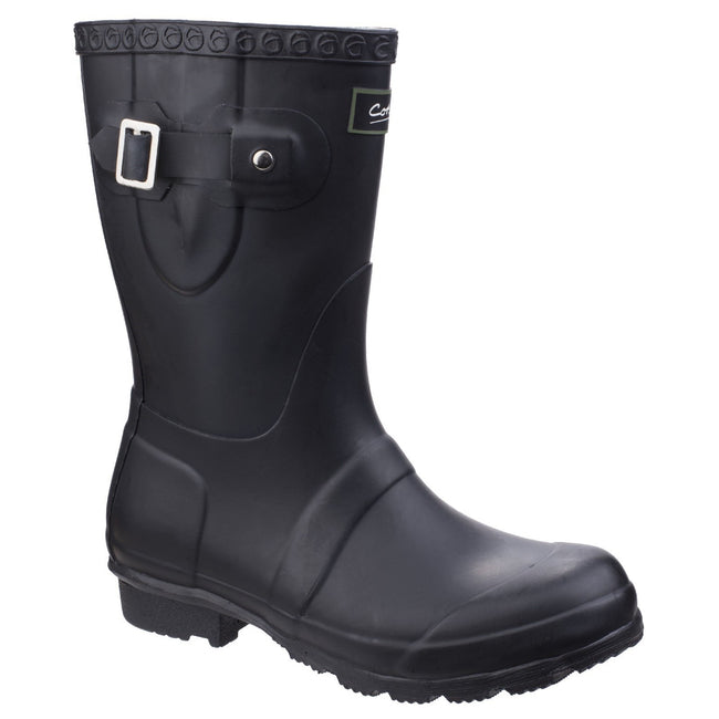 Black - Front - Cotswold Womens-Ladies Windsor Short Waterproof Pull On Wellington Boots