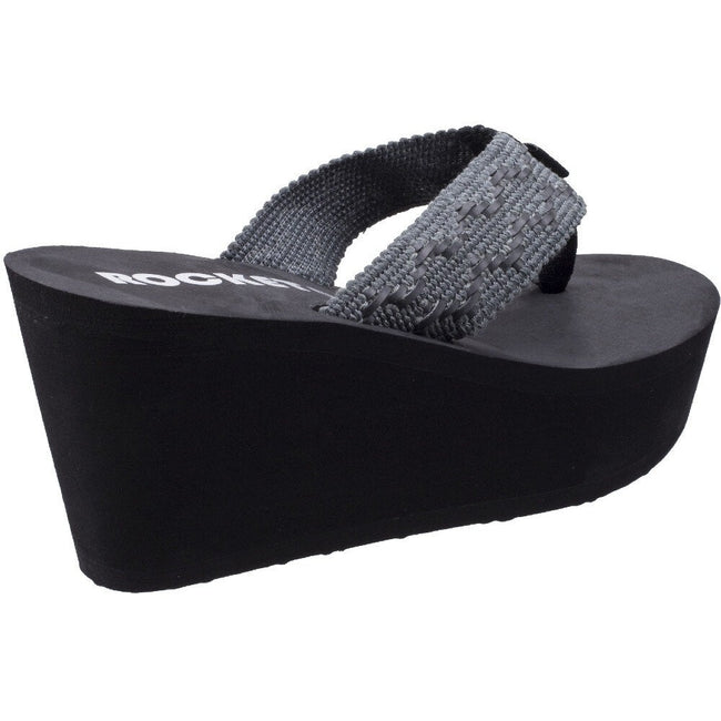 Black - Side - Rocket Dog Womens-Ladies Diver Beaches Wedge Sandals