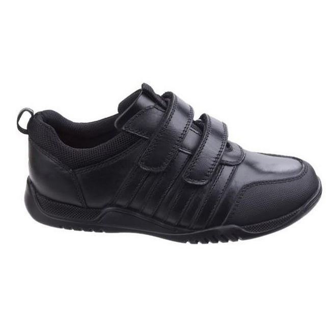 Black - Back - Hush Puppies Childrens-Boys Josh Jnr Touch Fastening Leather Shoes