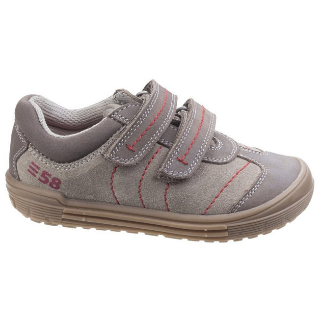 Taupe - Front - Hush Puppies Childrens-Boys Finn Touch Fastening Leather Shoes