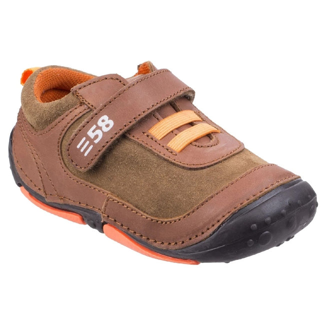 Brown - Back - Hush Puppies Childrens-Boys Harry Touch Fastening Leather Trainers