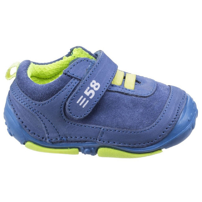Blue - Front - Hush Puppies Childrens-Boys Harry Touch Fastening Leather Trainers