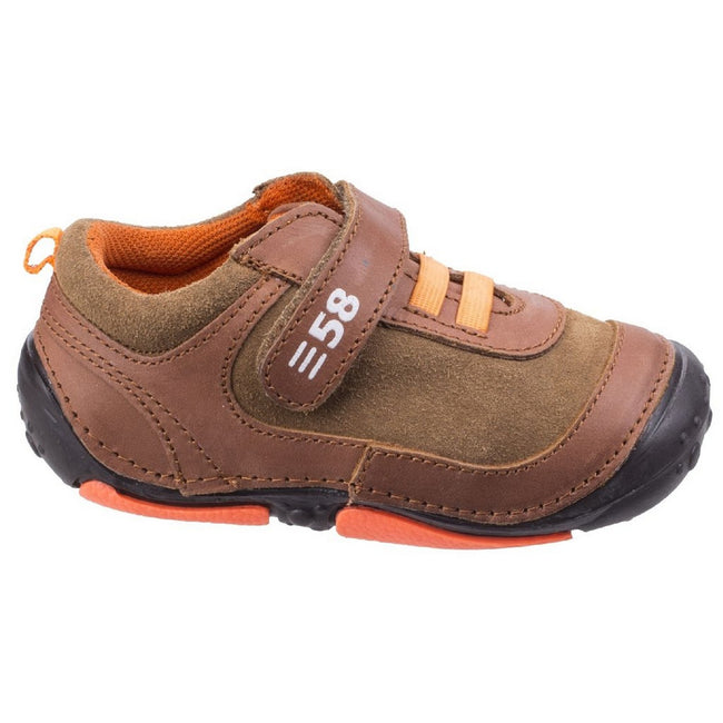 Brown - Front - Hush Puppies Childrens-Boys Harry Touch Fastening Leather Trainers