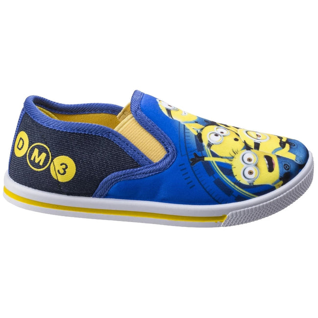 Blue-Yellow - Side - Leomil Childrens-Kids Minions Slip On Trainers