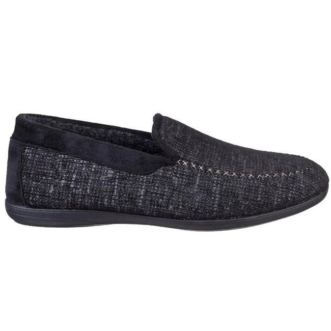 Black - Back - Cotswold Mens Stanley Moc Toe Full Slipper