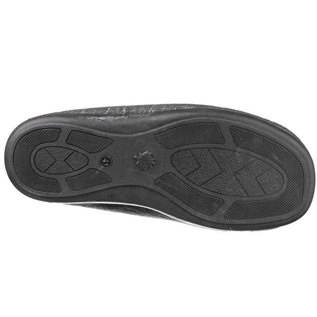 Black - Side - Cotswold Mens Stanley Moc Toe Full Slipper