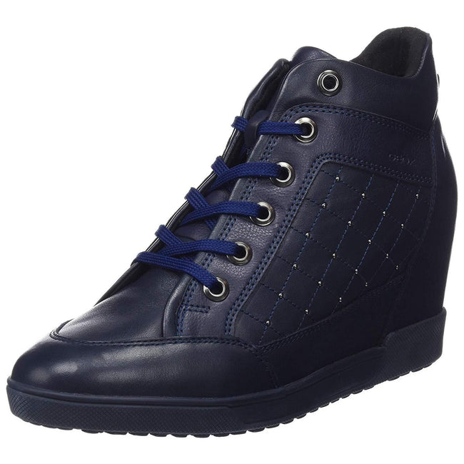 Navy - Front - Geox Womens-Ladies Carum Trainer