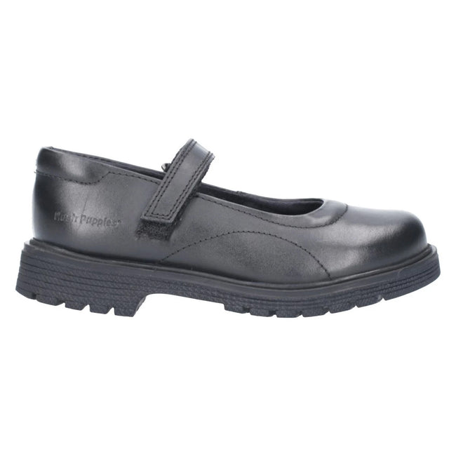 Black - Back - Hush Puppies Girls Tally Junior Touch Fastening Shoe