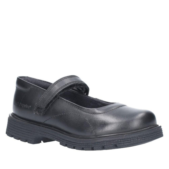 Black - Front - Hush Puppies Girls Tally Junior Touch Fastening Shoe