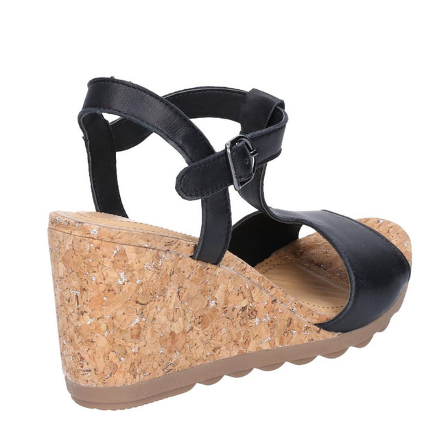 Black - Back - Hush Puppies Womens-Ladies Pekingese T-Strap Wedge Heeled Leather Sandals