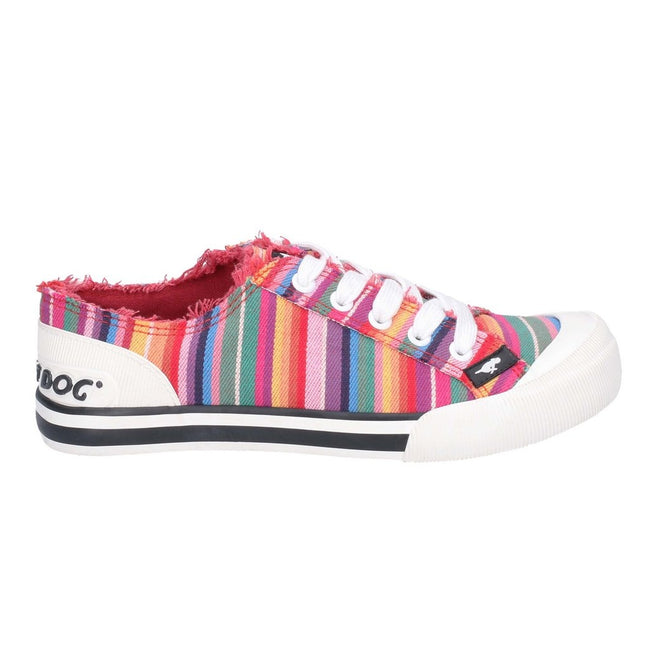 Red-Multi - Back - Rocket Dog Womens-Ladies Jazzin Eden Stripe Lace Up Canvas Trainer
